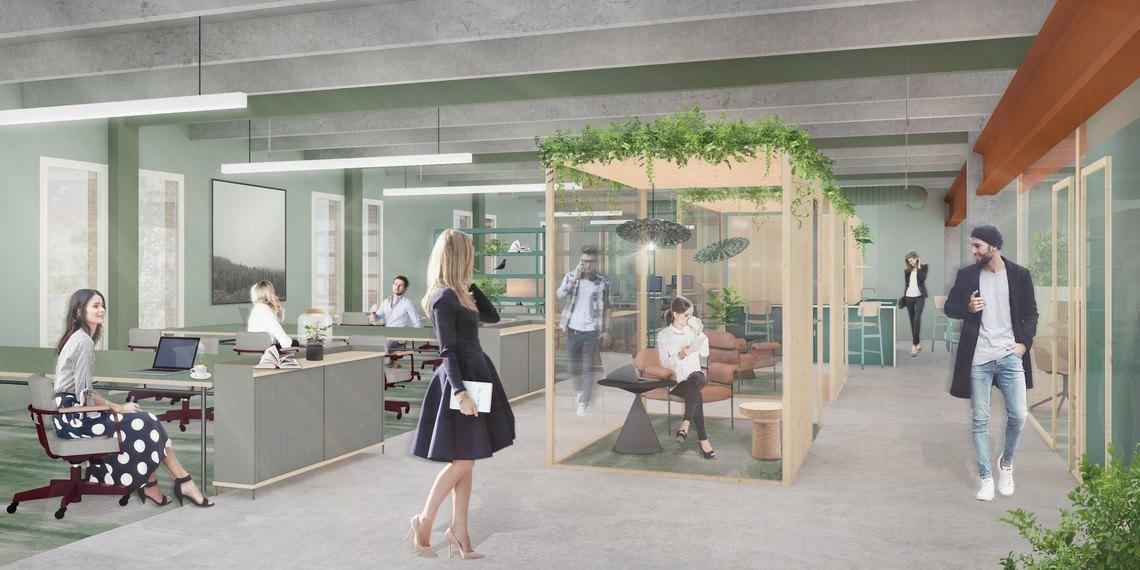 Illustrasjonsbilde av kontor, møterom og sosialsone i lokalet