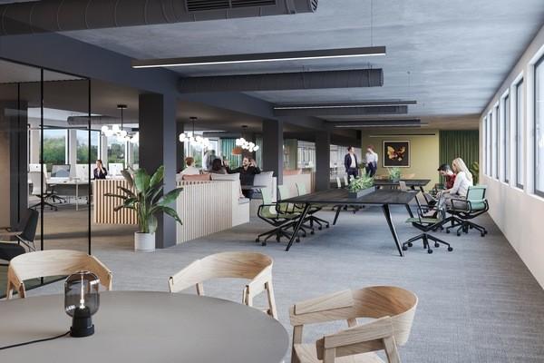3D-illustrasjon av lokalet ansatte som jobber. Bilde av planter, stoler og bord.
